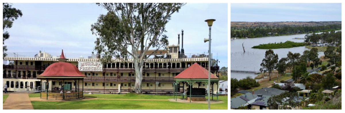 paddle steamer on river murray and the river